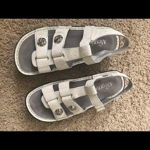 Alegria white leather sandals